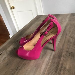 Guess Hot Pink Patten Leather Stiletto Pumps Heels